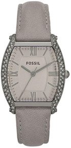 Fossil Ladies Watch Gray Wallace Wristwatch Grey Leather band ES3128