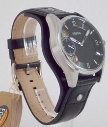 Fossil Twist Watch Mens Black Dial Leather Cuff Wristwatch ME1084