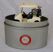Fossil Golf Cart Desk Clock. Vintage Novelty LE Golfer Collectible