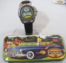 Green Bay Packers Vintage Fossil Watch 1996  Black Leather band