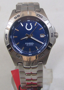 Indianapolis Colts Watch Fossil Mens Three Hand Date Wristwatch