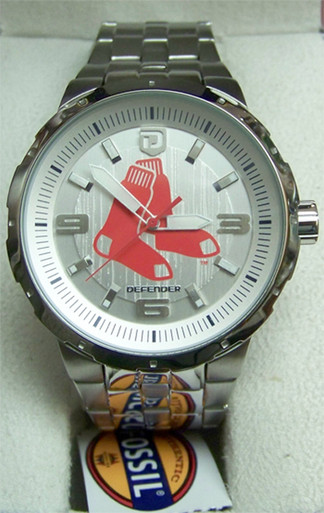 Boston Red Sox Fossil Mens Large Logo Silver Watch Mlb1060