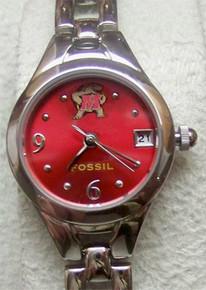 Maryland Terrapins Fossil Watch Womens Open Link Bracelet Wristwatch