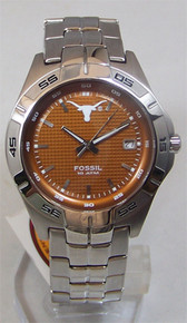 Texas longhorns Fossil watch Mens Three Hand Date Wrsitwatch Li2732
