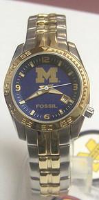 Michigan Wolverines Fossil Watch Ladies Sports Logo Wristwatch Li3005