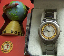 Fossil Collectors Club Watch 1997 Set with Globe and Extra large Tin