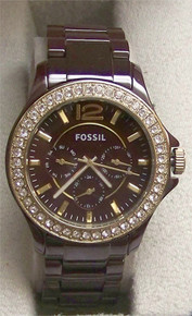 Fossil Ceramic Multifunction Watch Womens Riley Chocolate Brown