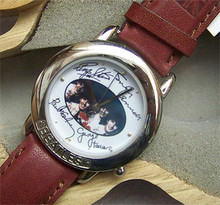 The Beatles Watch in Wooden Guitar case and Beatles signatures Brown