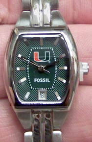 Miami Hurricanes Fossil Watch Womens Three Hand Date Li3025