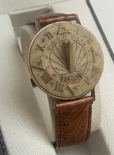 Fossil Sundial Watch Vintage Collectible Novelty Wristwatch