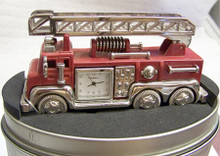 Fossil Fire Truck Desk Clock. Novelty Fire Engine LE Collectible