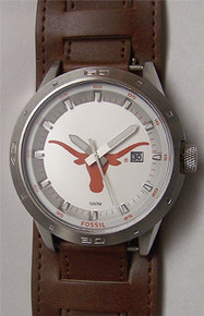Texas Longhorns Fossil Watch Mens 3 hand Date on Removable Wide Cuff