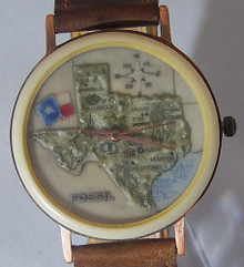 Fossil Texas Map Watch Vintage Collectible Copper Case Wristwatch