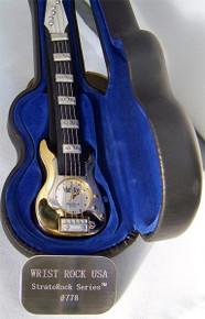 Wrist Rock Guitar Watch Gold Novelty Fender Strat Style Wristwatch