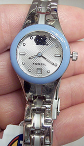 UNC North Carolina Tarheels Fossil Watch Womens Blue IP Date watch