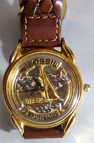 Fossil Sailboat Watch Vintage Collectors Sailors Wristwatch