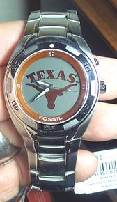 Texas Longhorns Fossil Watch Mens Flashing logo Kaleido Wristwatch
