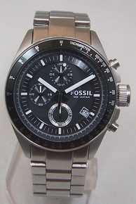 Fossil Mens Chronograph Watch Black Tachymeter Stainless Steel CH2600