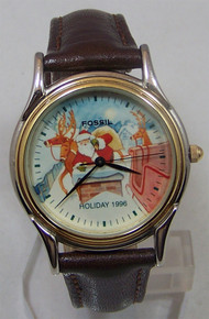 Fossil Christmas Watch Santa on Roof 1996 Holiday Wristwatch LE9488