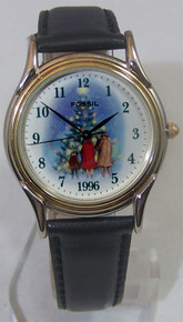 Fossil Christmas Watch Outdoor Scene 1996 Holiday Wristwatch LE9487