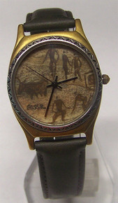 Fossil Watch Pictographs Cave Drawings Vintage Wristwatch
