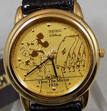 Mickey Mouse Watch Through the Mirror Marching Cards Seiko Wmn Sample