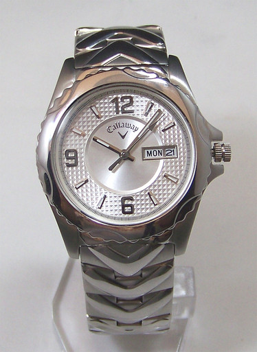 Callaway Golf Watch Mens Cy2058 Silver With Day Date Windows