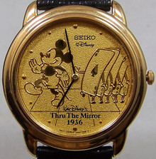 Mickey Mouse Watch Through the Mirror Marching Cards Seiko Mens Sample
