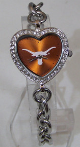 Texas Longhorns Heart Watch Game Time Ladies Rhinestone Wristwatch