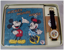 Mickey and Minnie Mouse Watch with Jigsaw Puzzle Fossil Set Li-1616