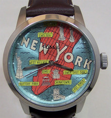 Fossil New York City Watch Mens NYC Map Wristwatch FS5019