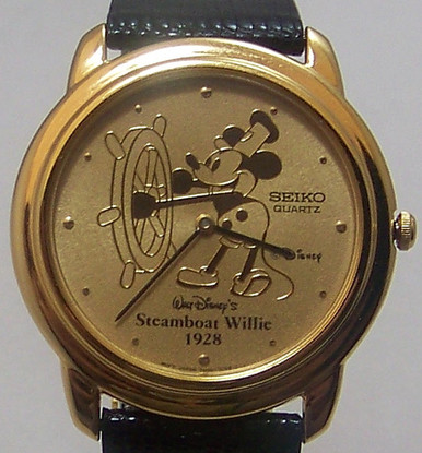 Steamboat Willie Seiko Watch Mickey Mouse Disney Gold Mens