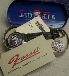New York Giants Fossil Watch Set Mens Vintage 1994 Wristwatch and Pin