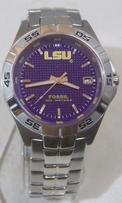 LSU Tigers Fossil Watch Mens Three Hand Date Wristwatch Li2735