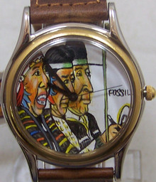 Fossil Hand Painted Watch Native American Lmt Ed Vintage Wristwatch