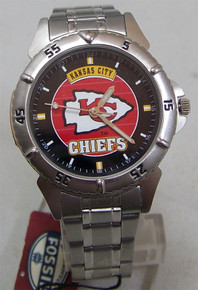 Kansas City Chiefs Fossil Watch Mens 1997 Vintage SS in Tin Li1710