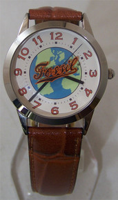 Fossil Vintage Watch Mens World Globe Travelers Themed Wristwatch