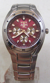 Texas A&M Aggies Fossil Watch Mens Multifunction SS Wristwatch Li2451