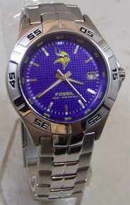 Minnesota Vikings Fossil Watch Mens Three Hand Date Wristwatch NFL1115