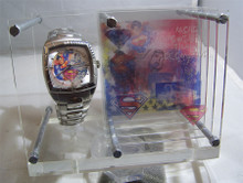 Fossil Superman Street Watch with Art Display Case DC Comics LE Sample