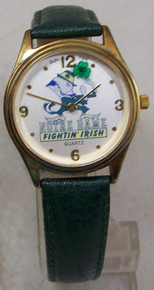 Notre Dame Watch Sun Time Fighting Irish Rotating Shamrock Wristwatch