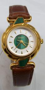 Fossil Womens Watch Vintage Malachite Style Gold Tone Wristwatch NEW