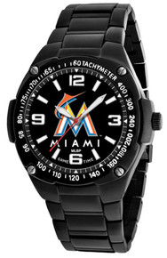 Miami Marlins Watch Mens MLB Black Stainless Gladiator Wristwatch New