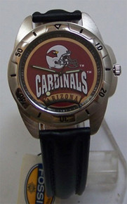 Arizona Cardinals Watch Fossil Mens Vintage 1995 Wristwatch With Tin