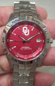Oklahoma Sooners Watch Fossil Mens Three Hand Date Wristwatch