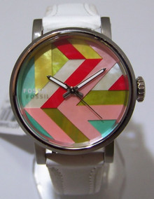 Fossil Mother of Pearl Mosaic Watch Womens Colorful Fashion Wristwatch