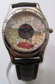 Fossil Car Compass Map Watch Vintage Collectible Road Trip Wristwatch