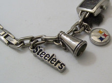 Pittsburgh Steelers Fossil Watch Womens Charm Bracelet Wristwatch New