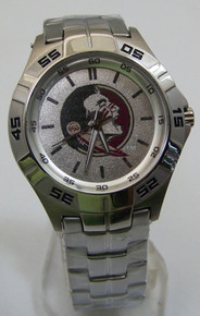 Florida State Fossil Watch Mens FSU Seminoles Silver 3 Hand Wristwatch