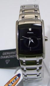 Fossil Womens Dress Watch Black with Diamond Ladies SS Wristwatch New